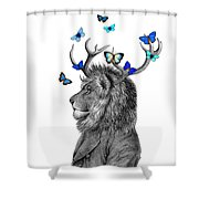 Dandy Lion With Antlers And Blue Butterflies Shower Curtain