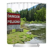Danger Peligro Shower Curtain
