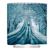 Dangerous Slippery And Icy Road Conditions Shower Curtain