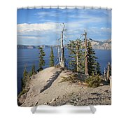 Dangerous Slope At Crater Lake Shower Curtain