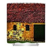 Danish Barn Watercolor Version Shower Curtain