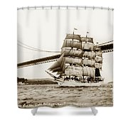 Danmark Sailing Under The Golden Gate Bridge San Francisco Shower Curtain