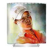Danny Willett In The Madrid Masters Shower Curtain