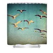 Dans Avec Les Oiseaux Shower Curtain by Taylan Apukovska