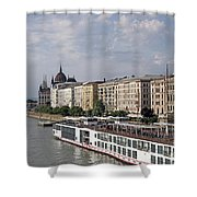 Danube Riverside With Old Buildings Budapest Hungary Shower Curtain
