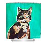 Daphne The Calico Cat Shower Curtain