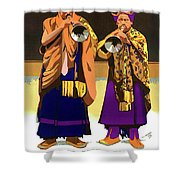 Darjeeling, Lama Dance Musicians, India Shower Curtain