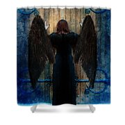 Dark Angel At Church Doors Shower Curtain