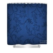 Dark Blue Floral Shower Curtain