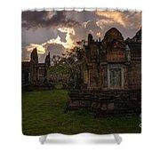 Dark Cambodian Temple Shower Curtain