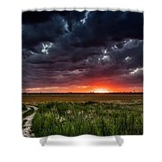 Dark Clouds At Sunset Shower Curtain