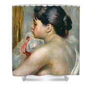 Dark-haired Woman Shower Curtain