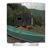 Dark Harbour Fisherman Shack And Boat Shower Curtain