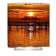 0209 Dark Orange Sunrise On Sound Shower Curtain