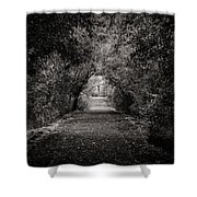 Dark Path In Black And White Shower Curtain