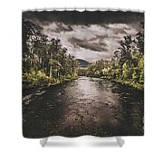 Dark River Woods Shower Curtain
