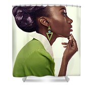 Dark Skinned Woman In Updo With Big Curls Shower Curtain