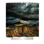 Dark Storm Clouds Over Cliffs Shower Curtain