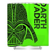 Darth Vader - Star Wars Art - Green Shower Curtain