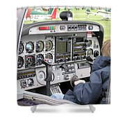 Dashboard Of A Robin Dr400 President Shower Curtain