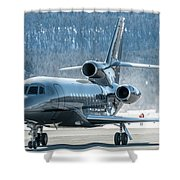 Dassault Falcon 900 Parking With Marshaller Shower Curtain