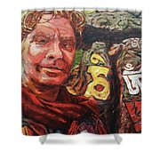 Dave Alber Self-portrait At Swayambunath, Kathmandu, Nepal Shower Curtain