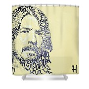 Dave Grohl Word Portrait With The Word Kurt Cobain Shower Curtain