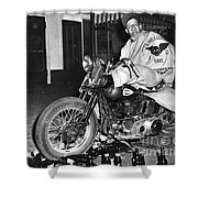 Dave On A Harley Tulare Raiders Mc Hollister Calif. July 4 1947 Shower Curtain