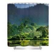 Dave Ruberto - Wonderful Lake Green Nature Landscape  Shower Curtain