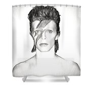 David Bowie Charcoal  Shower Curtain