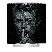 David Bowie Text Portrait - Typographic Poster With Album Titles And Background With Songs Names Shower Curtain
