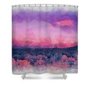 Dawn In Taos In Aquarelle Shower Curtain