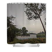 Dawn Moon Over Chinese Garden Singapore Shower Curtain