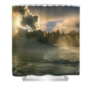 Dawn On Castle Geyser Shower Curtain