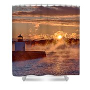 Dawn Peeking Over At Derby Lighthouse Shower Curtain