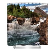 Dawn Upon Swiftcurrent Falls  Shower Curtain