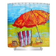 Day At The Beach - Modern Impressionist Knife Palette Oil Painting Shower Curtain
