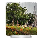 Day Lilies By A Church  Shower Curtain