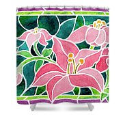Day Lilies In Stained Glass Shower Curtain