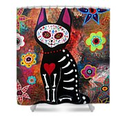Day Of The Dead Cat El Gato Shower Curtain