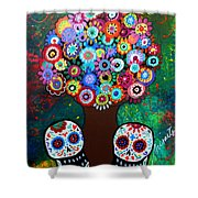 Day Of The Dead Love Offering Shower Curtain