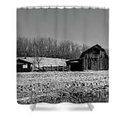 Days Gone By - Arkansas Barn In Black And White Shower Curtain