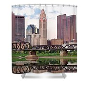 Daytime View Of Columbus Over The Scioto Shower Curtain