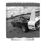 Daytona Charger In Black And White Shower Curtain