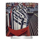 Dazzle Ships In Drydock At Liverpool Shower Curtain