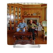 Db6362 Ed Cooper With Fred Beckey In Library 2013 Shower Curtain