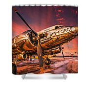 Dc-3 In Surreal Evening Light Shower Curtain