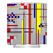 De Stijl Love Shower Curtain by Tara Hutton