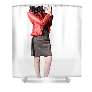Dead Female Secret Agent Holding Hand Gun Shower Curtain