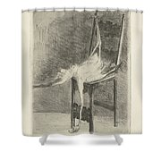 Dead Flamingo With The Legs Tied To The Handrail Of A Chair, Adriaan Pit, 1870 - 1896 Shower Curtain